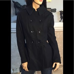 Michael Kors Wool Black Double Breasted Coat XL