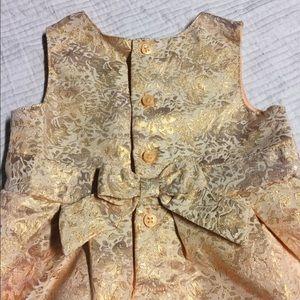 {Carter's} Rose Gold Floral Print Bow Back Dress