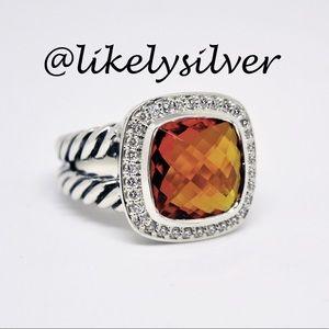 David Yurman Citrine& Diamond Ring Sterling Silver
