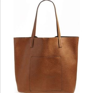 Faux Leather Pocket Tote