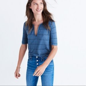 Madewell Anthem Split Neck Tee in Kimball Stripes