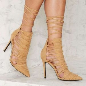 NIB Nasty Gal Stacia Kava Lace-Up Heels Nude Beige