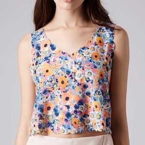 NWT TopShop Floral Scalloped Cropped Tank