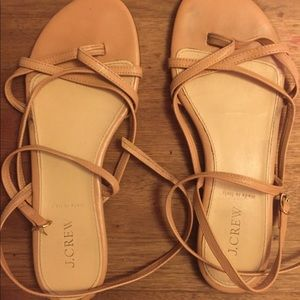 j crew nude leather lace up sandals size 9