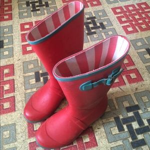 Mini Boden rain boots women's 6 red white stripe