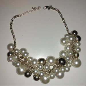 Statement pearl and gold ball necklace
