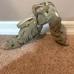Zara Woman Taupe Suede Fringed Heeled Sandals