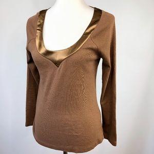 Soft Surroundings Satin Trimmed Mocha Knit Shirt