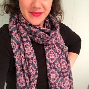 Purple & teal wool silk J. Crew lightweight scarf