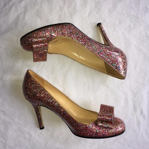 bf60184dd4ec kate spade Shoes - Kate Spade Krysta Multicolor Glitter Bow Heels 8