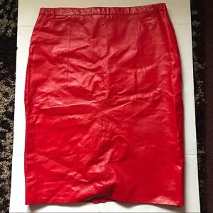 Dresses & Skirts - Plus size red leather skirt