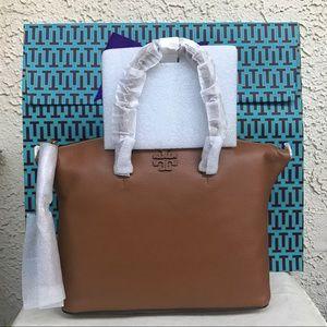 Tory Burch Taylor Satchel handbag saddle
