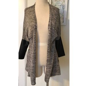 H&M faux leather sleeve cardigan