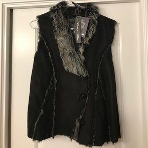 Black Suede faux fur vest