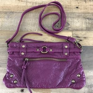 Deux Lux Purple Faux Leather Crossbody Clutch Bag