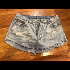 Mini light wash denim skirt