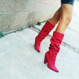 🆕//The Wiley// Red slouchy knee high boots