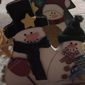 [ Vintage Snowman Winter Coaster Set ] 6piece