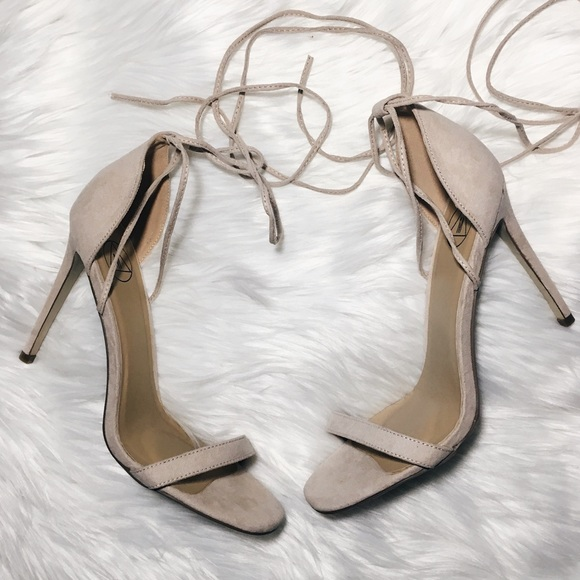 2df79864df Missguided Barely There Nude Lace Up Heels. M_5a0e463cbf6df5091000ef58