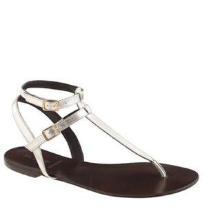 J. Crew tabbie t-strap metallic silver sandal