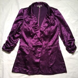 C. Russe purple satin blazer with ruched sleeves