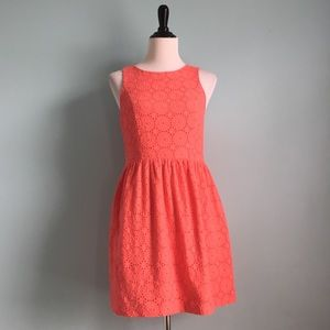 Kensie Sleeveless Salmon Floral Lace Dress