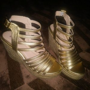 Gold Strap Wedges