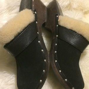 Woman Michael Kors suede fur wooden clogs 8.5
