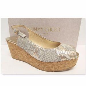 New JIMMY CHOO Size 38.5 Metallic Snake Wedge Heel