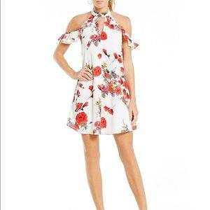 Skies Are Blue Floral Print Mock Neck Ruffle Dress
