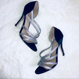 Aldo Navy Blue & Silver Rhinestone Strappy Heels