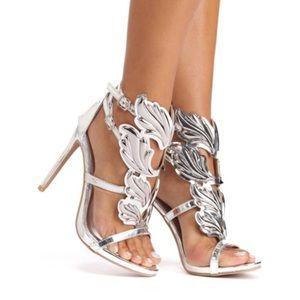 Silver Winged Goddess Heels