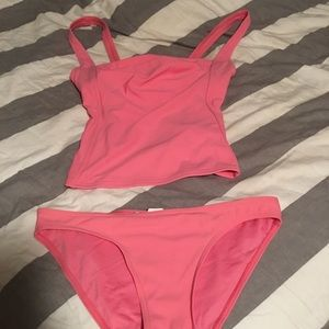 Two piece bathing suit hot pink