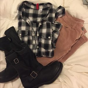 Black and White Button Up Flannel