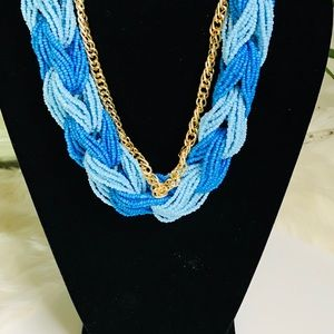 Jewelry - Blue and Gold Rope Necklace With Gold Chain
