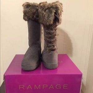 Rampage Laced-Up Fur Boots - Size 6.5
