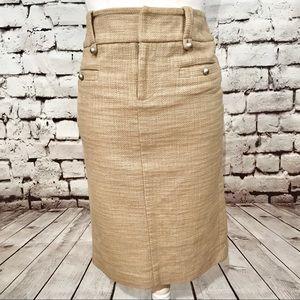 Club Monaco Khaki Tan Tweed Pencil Skirt