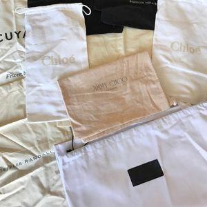 Variety of designer dust bags - Chloe jimmy choo