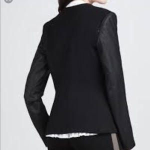 Theory Leather Sleeve Blazer