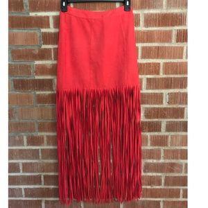 🆕H&M Faux Suede Red Fringe Coachella Skirt