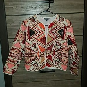 Geo Embroidered Jacquard Jacket by Topshop