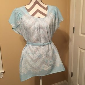 Light blue and white paisley dress top