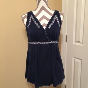 Navy and white maternity tank