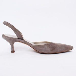 Boden Dove Grey Suede Kitten Heel Slingback 6.5 63
