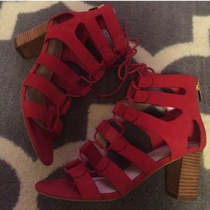 Marc Fisher Red Lace Up Sandal