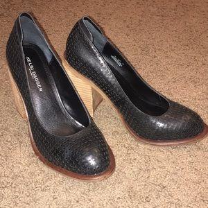 Kelsi Dagger Black Leather Heels, 7.5, NWOT