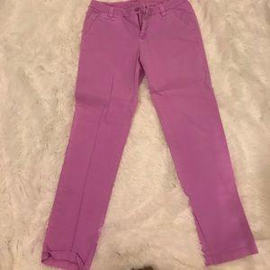 Purple khakis, ankle length