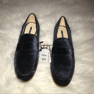 Zara Navy Blue Velvet Loafers NWT