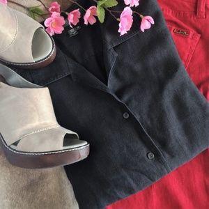 Ralph Lauren 3/4 Sleeve Black Linen Button Up