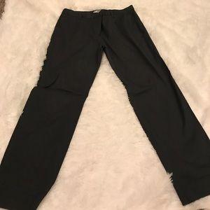 Slim cropped gray dress pants